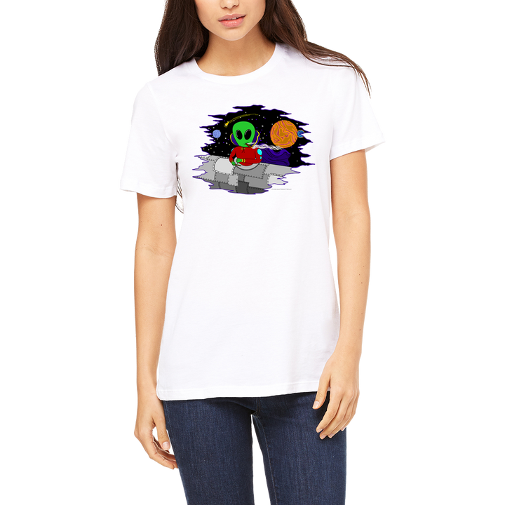 White tee for Women Wacky in Space. Funny Boutique T Shirt by Weed Apparel. Let them know aliens are out there and they use wacky tacky to glue their blunts and joints while traveling the stars.