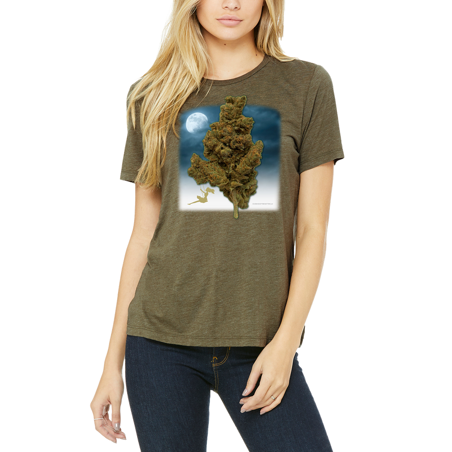 Funny Boutique T Shirt by Weed Apparel. A stoner girl swinging on a tree size cannabis nug.