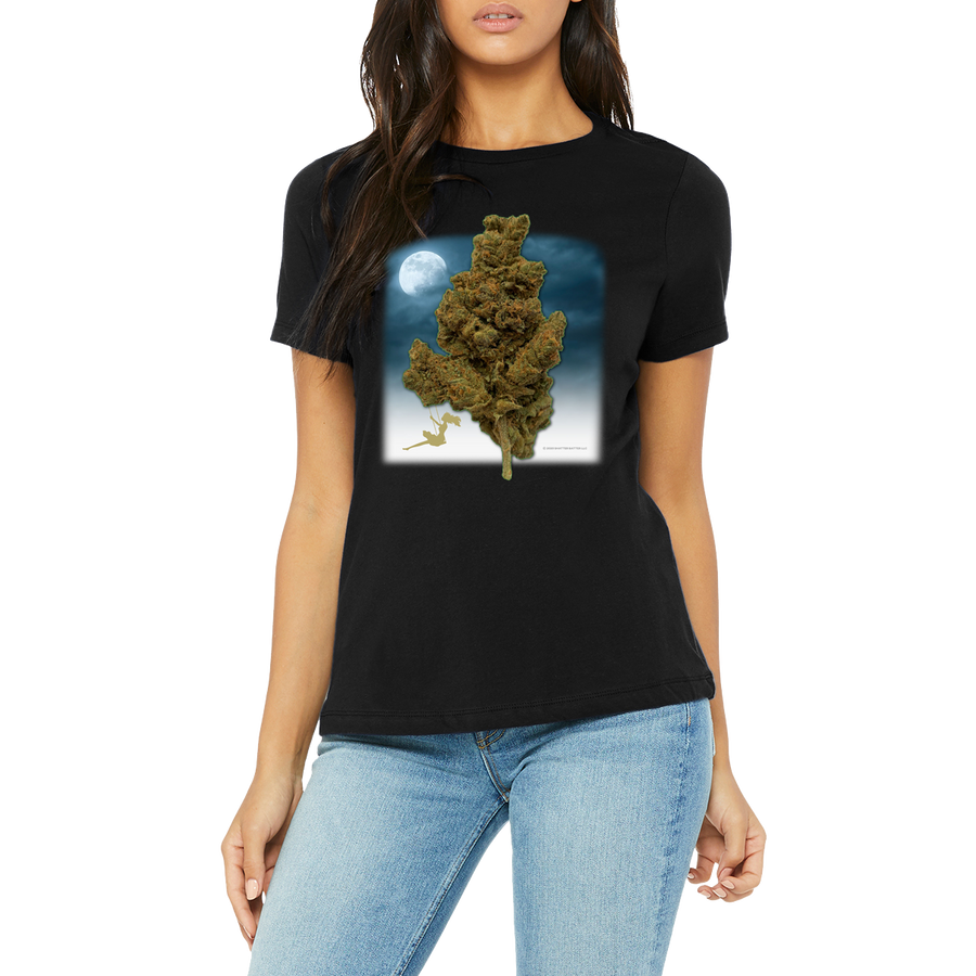 Funny Boutique T Shirt by Weed Apparel. A women's shirt featuring a lady swinging on a huge cannabis nug smoking weed and enjoying life.