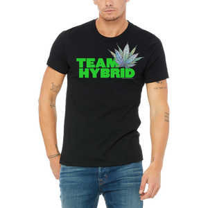 Black TEAM HYBRID Tee Boutique T Shirt by Weed Apparel. Show the weed you need Team Hybrid. Support your team with this shirt and blaze up on a great Hybrid bong.