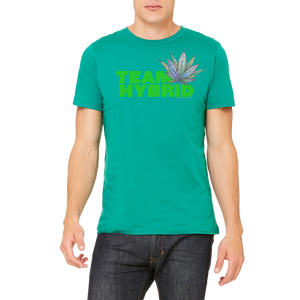 Green Team Hybrid Tee Boutique Graphic Design T-Shirt by Weed Apparel. Show the weed you need Team Hybrid. Support your team with this shirt and blaze up on a great Hybrid blunt.