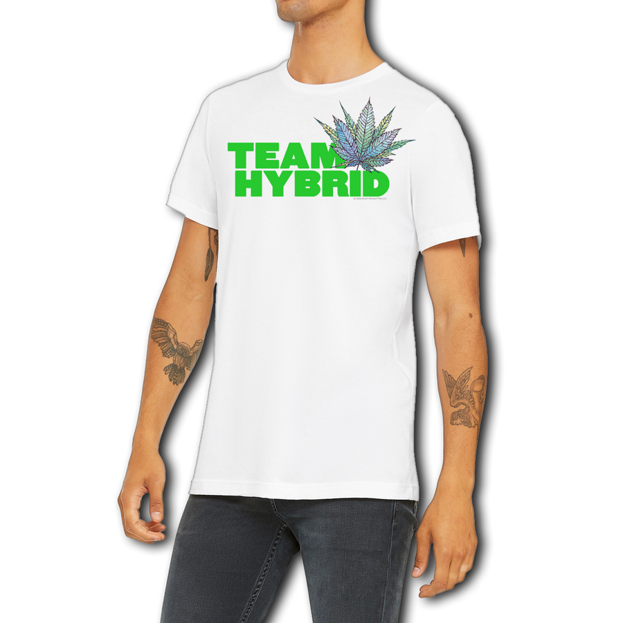 Funny Boutique White Team Hybrid T-Shirt by Weed Apparel. Show the weed you love Team Hybrid. Support your team with this shirt and blaze up on a great Hybrid joint.
