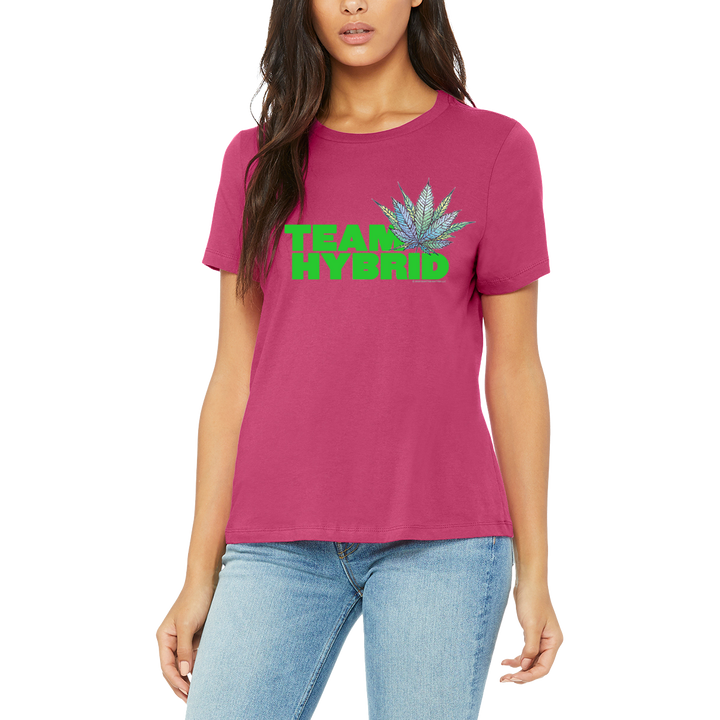 Lovely Pink Women's Team Hybrid Tee Boutique T Shirt by Weed Apparel. Support your team with this shirt and blaze up on a great Hybrid smoke.