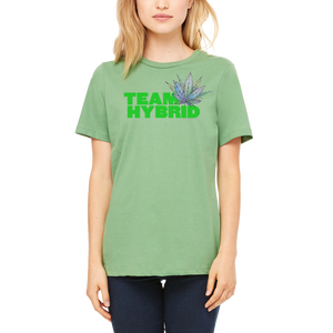 Green Team Hybrid women's T Shirt by Weed Apparel. Hot new look, 420 friendly