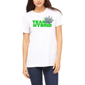 White Tee Women's (Team Hybrid) T Shirt by Weed Apparel.  Show the world where you stand!  Cannabis Marijuana Movement