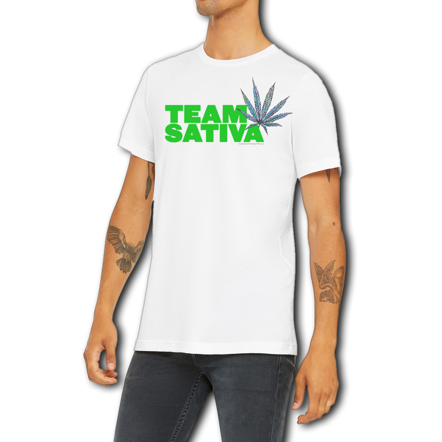 Men's / Unisex White Graphic Tee TEAM SATIVA T-Shirt by Weed Apparel.  Casual Stoner Clothing
