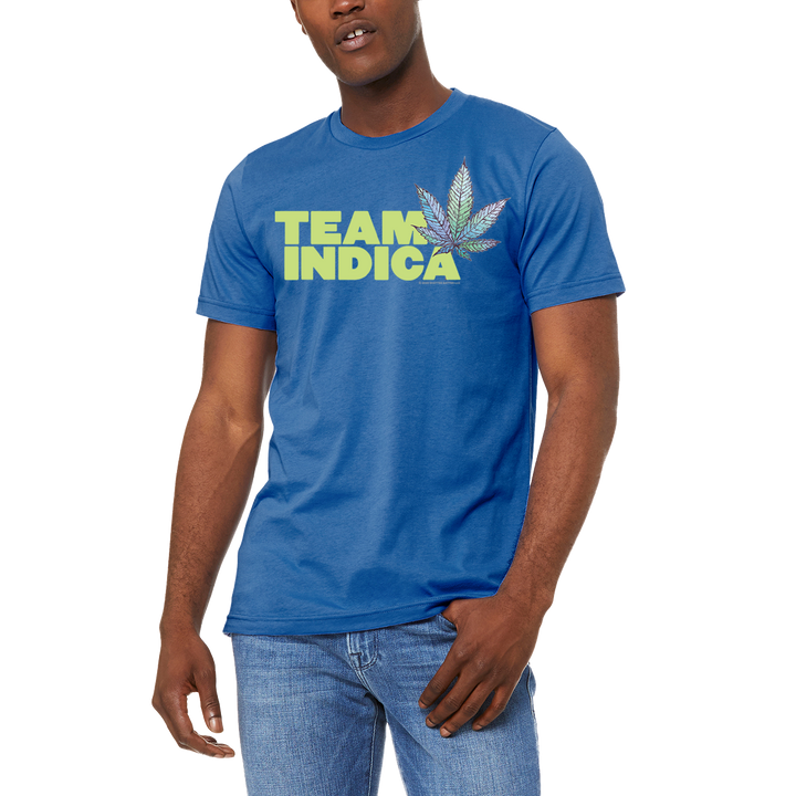 Team Sativa Men's / Unisex Blue Tee T-Shirt by Weed Apparel. Show off the weed you love Team Sativa. Support your team with this shirt and blaze up on a great sativa bud.