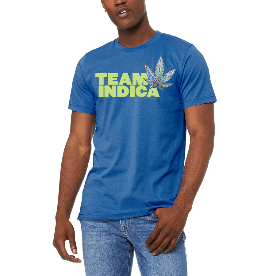 Blue Men's / Unisex TEAM INDICA T Shirt by Weed Apparel. Casual ware