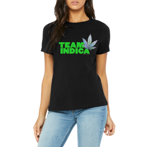 Black Tee Women's Graphic Team Indica Design Boutique T Shirt by Weed Apparel. Show off the weed you love Team Indica. Support your team with this shirt and blaze up on a great Indica blunt.