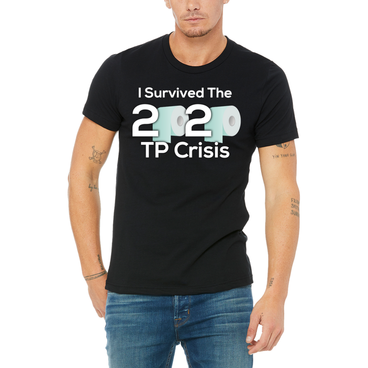Mens / Unisex Black Graphic Quarentined T-Shirt I Survived 2020 TP Crisis Funny Design