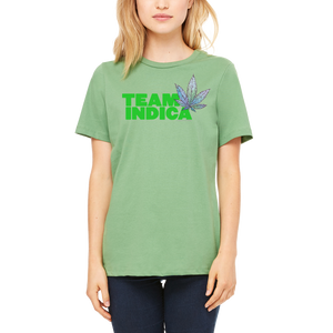 Women's Green TEAM INDICA T-Shirt by Weed Apparel. Weed Tee Shirts 420 clothing.