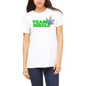 White Graphic Boutique T-Shirt ( Team Indica ) Design by Weed Apparel. Support your weed! Stoner clothing!