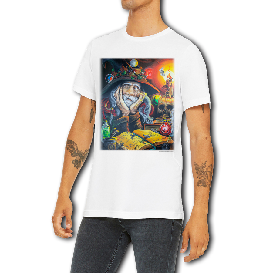 Men's / Unisex Weed Wizard Large Graphic Design T-Shirt by Weed Apparel. Wizard working on his magic potion, wack tacky, with a dragon on his shoulder.