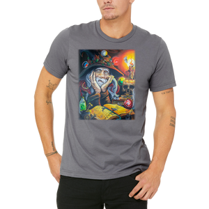 Men's / Unisex Grey Tee High Wizard Stoned Dragon T-Shirt by Weed Apparel Casual Sci-fi Shirt