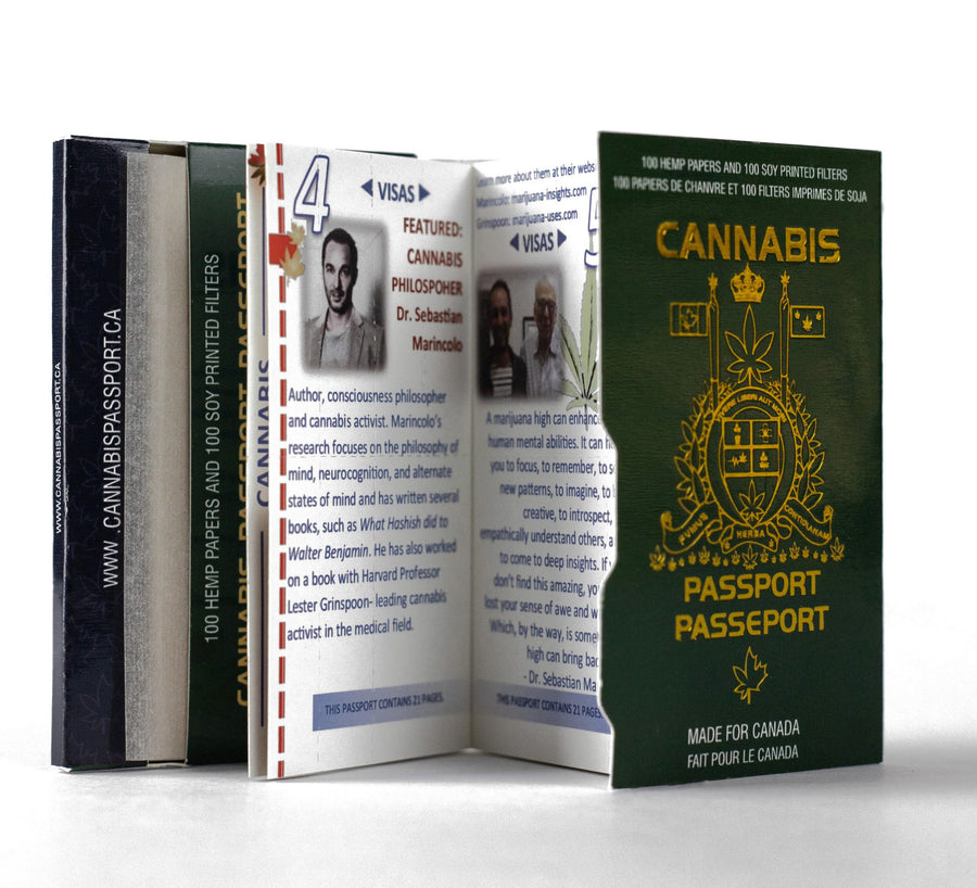 Cannabis Passport WORLDS FIRST ROLLING PAPER MAGAZINE. 100 Hemp Papers with Soy Printed Filters.