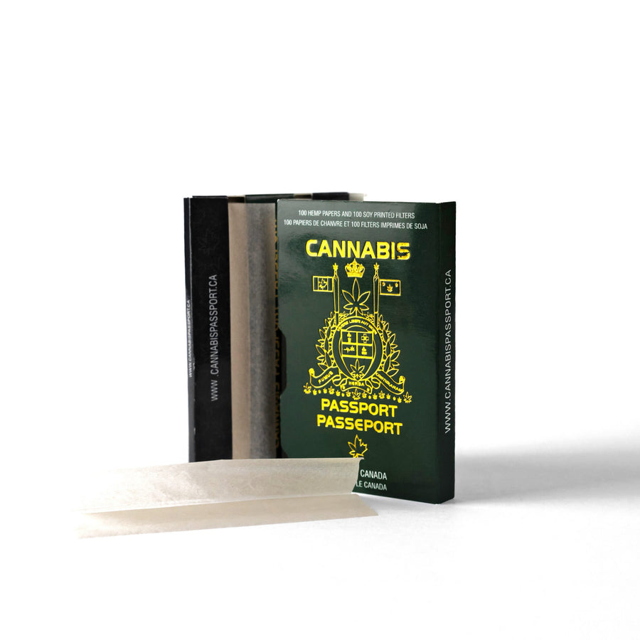 David Irvings Cannabis Passport rolling papers. Perfect for your weed, hemp and tobbaco products. With Crutchs