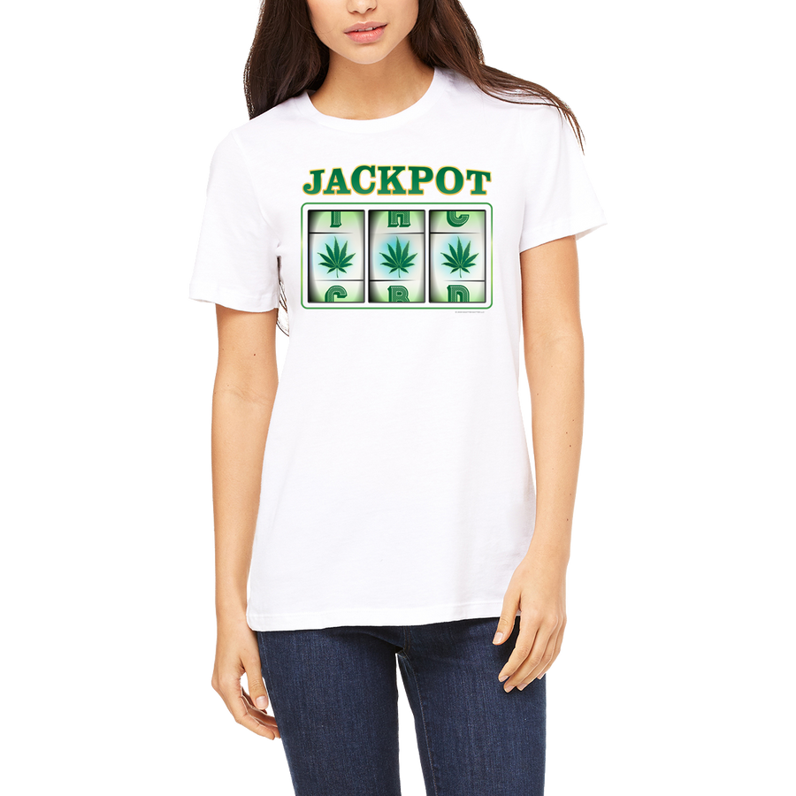 Weed apparel boutique funny t-shirt. Slot machine. 3 cannabis leaves are always a winner. A great 420 shirt