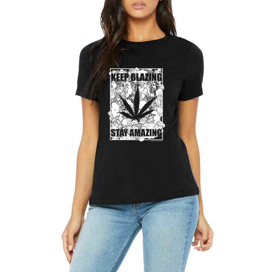 Weed apparel boutique funny t-shirt. Great advice Keep Blazing Stay Amazing.  A weed lovers reminder to  you and your cannabis friendly friends.