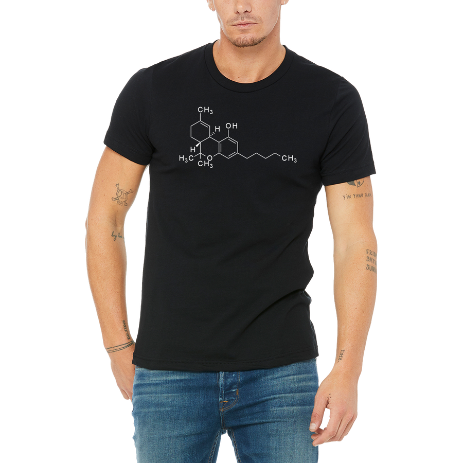 Geeky Black Tee THC SKELETON Boutique T-Shirt by Weed Apparel. Anyone know there structures?