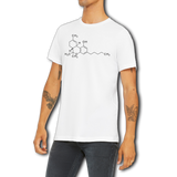 Funny Boutique T Shirt by Weed Apparel. Show off your inner geek by wearing the chemical structure of THC in skeleton formula on this great weed apparel classic.