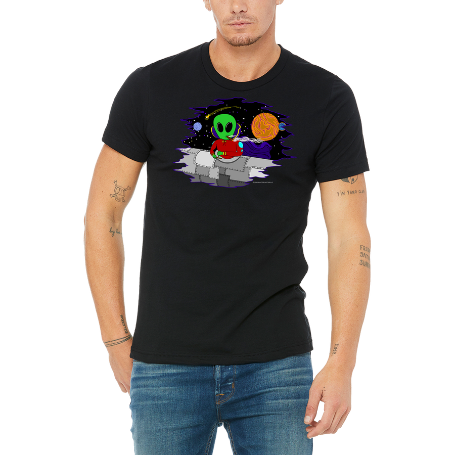 Black Tee Sci-fi 420 Fantasy - Wacky In Space - T Shirt by Weed Apparel. For all smoker around the world! Stoners Weed Clothing