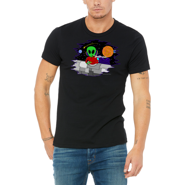Funny Boutique T Shirt by Weed Apparel. Let them know aliens are out there and they use wacky tacky to glue their blunts and joints while traveling the stars.