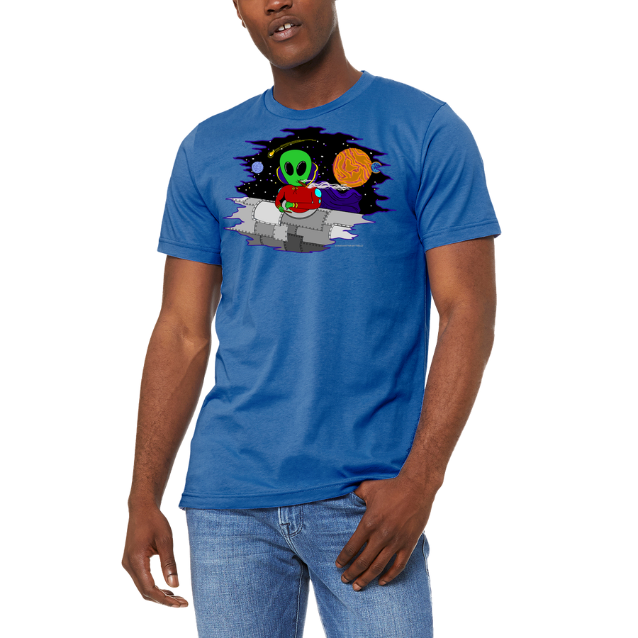 Men's / Unisex Blue WACKY IN SPACE Funny Boutique T Shirt by Weed Apparel. Let them know aliens are out there and they use wacky tacky to glue their blunts and joints while traveling the stars.