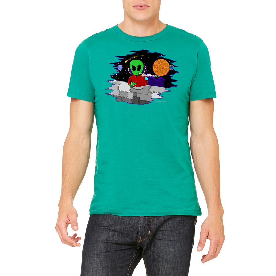 Green Graphic Tee Design Wacky in Space T-Shirt by Weed Apparel. Rock this new look with all your 420 friends!
