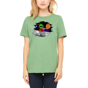 Green Women's Shirt Wacky In Space T-Shirt by Weed Apparel. Crisp Design and Cool Designs for anyone!