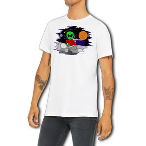 White Alien Shirt Wacky in Space Men's Unisex T Shirt by Weed Apparel. Need any great gift ideas?