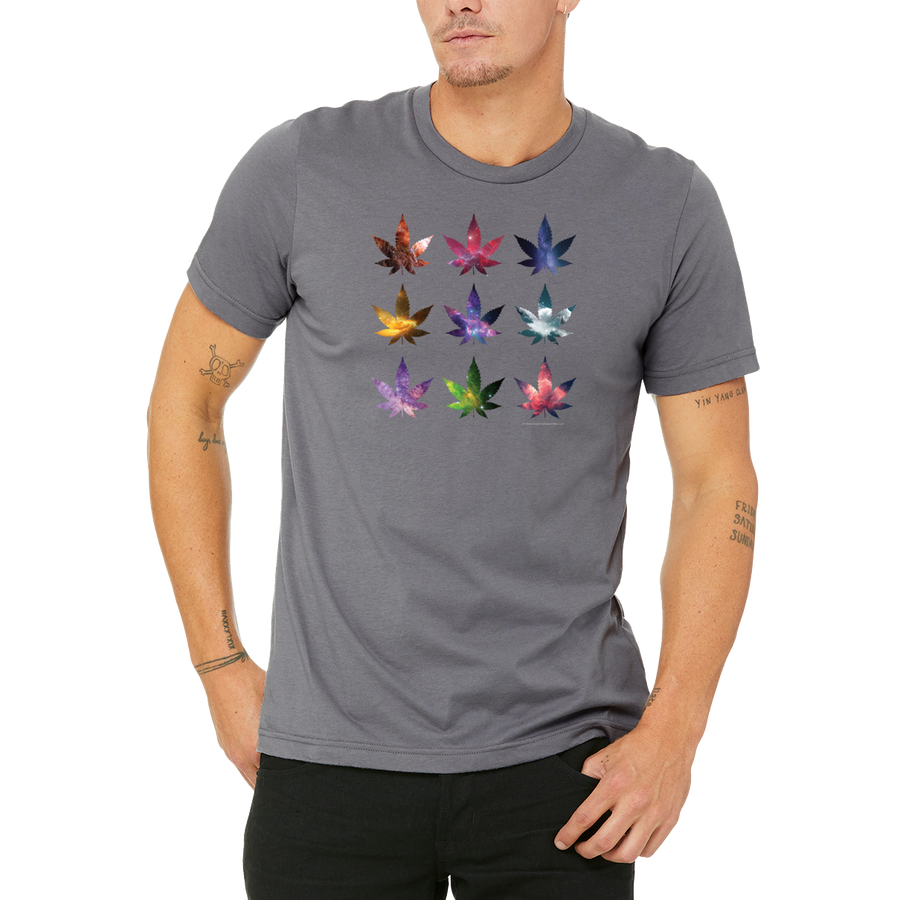 Grey Weed Cosmos T-Shirt by Weed Apparel. Sci-Fi 420 Fantasy Space, Surreal Designs