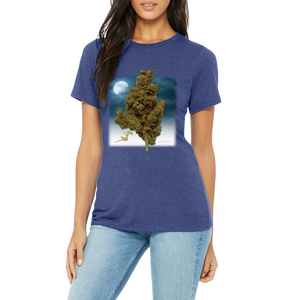 Women's T-Shirt (Swinging on a Nug) Blue Shirt with a large 420 friendly graphic.