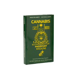 David Irvings Cannabis Passport front cover of papers. rolling papers. Perfect for your weed, hemp and tobbaco products. With Crutchs