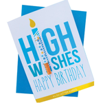 KushKards -HIGH WISHES HAPPY BIRTHDAY - Weed Enthusiast Greeting Card - Birthday Card