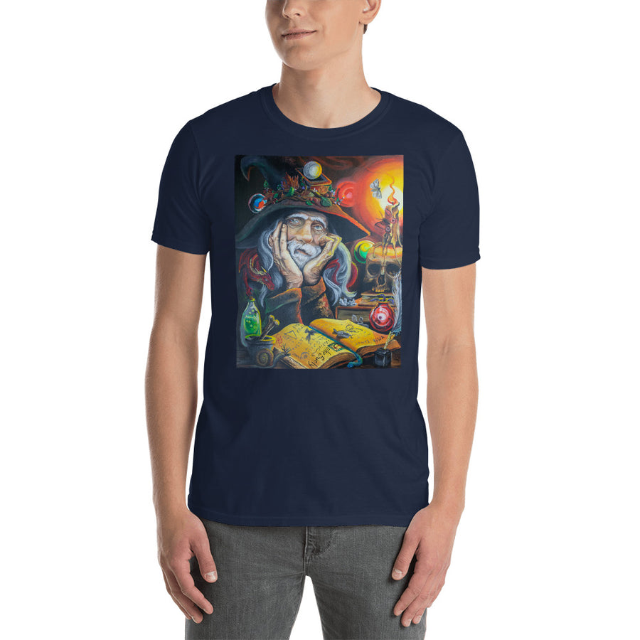 Black Shirt Wizard and potions Humorous Boutique T Shirt by Weed Apparel. Wizard working on his magic potions and a dragon! Weed Clothing