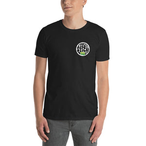 Humorous Don't Lick It Stick It in Black Tee T Shirt by Weed Apparel. Wacky Tacky logo.