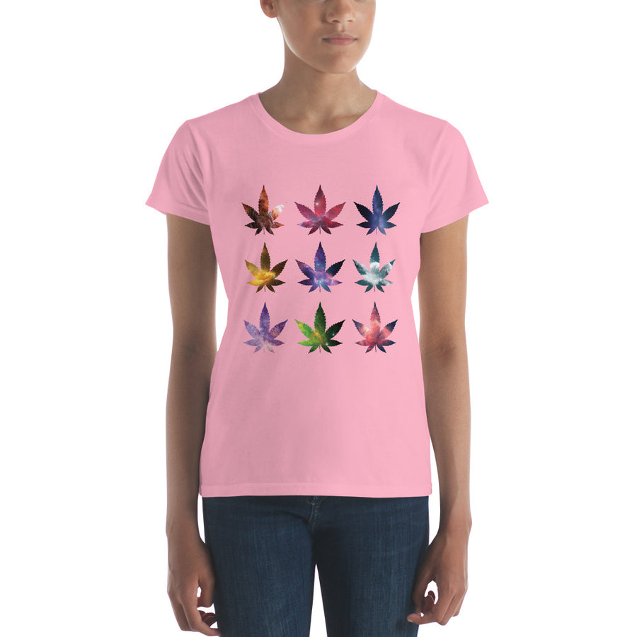 Light Pink Weed Cosmos short sleeve Women's Tee Shirt by Weed Apparel. Light up with this delightful galaxy, stars, and nebula's design!