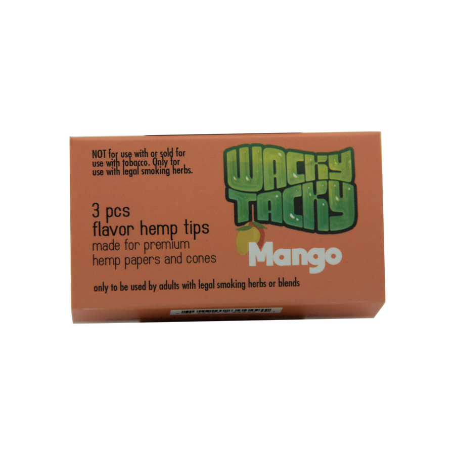 Wacky Tacky Flavor Hemp Filters Mango, only to be used by Adults with legal smoking herbs or blends.