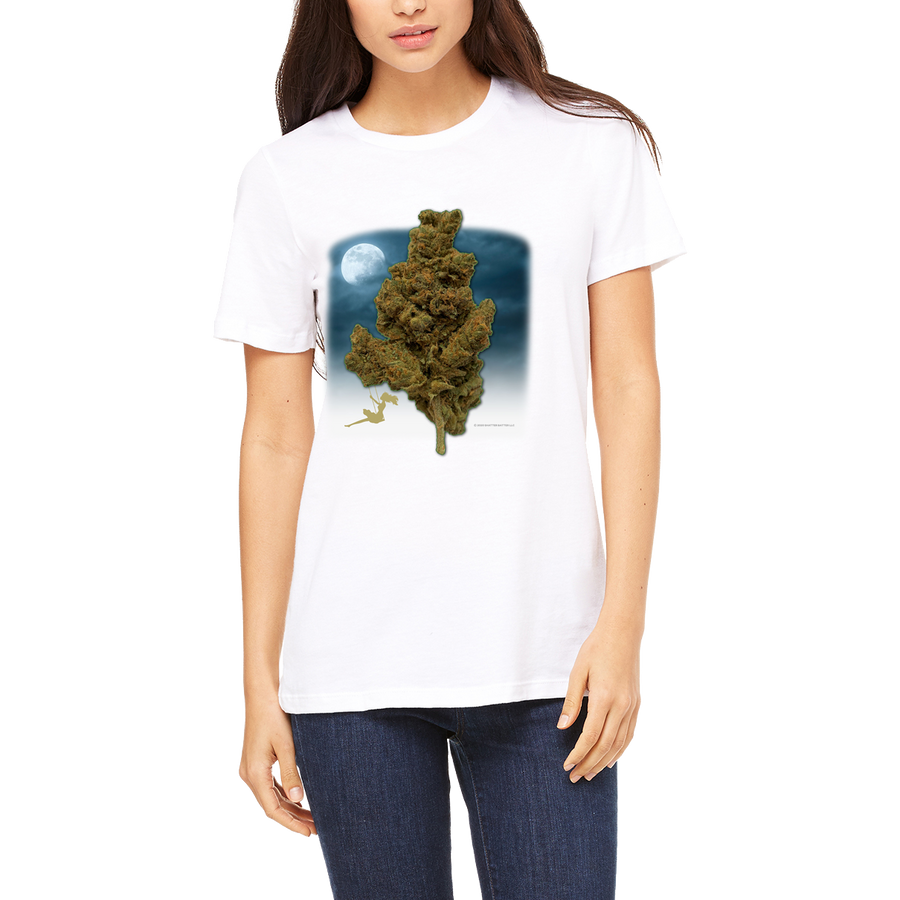 Women's Awesome White T-Shirt (Swinging on a Nug ) Tee Shirt Cannabis features a large 420 graphic design.