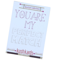 Kush Cards stoner greeting Card with place to tie a joint on. .Say I love you with this Kush Card