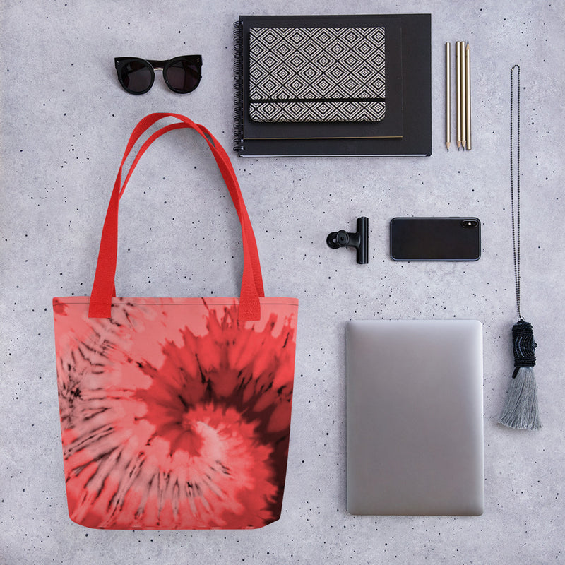 Coral Red Tie Dye - Tote Bag - JaCiana Clothing Co.