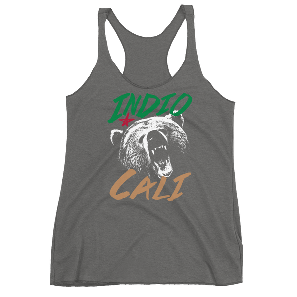 Indio Cali' Bear Womens Tri-Blend Racerback Tank - Superior Digital Outlet Mall