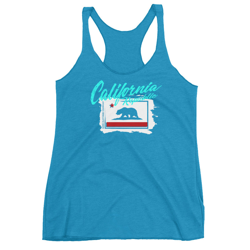 California Flag Stencil - Women's Racerback Tank - Superior Digital Outlet Mall