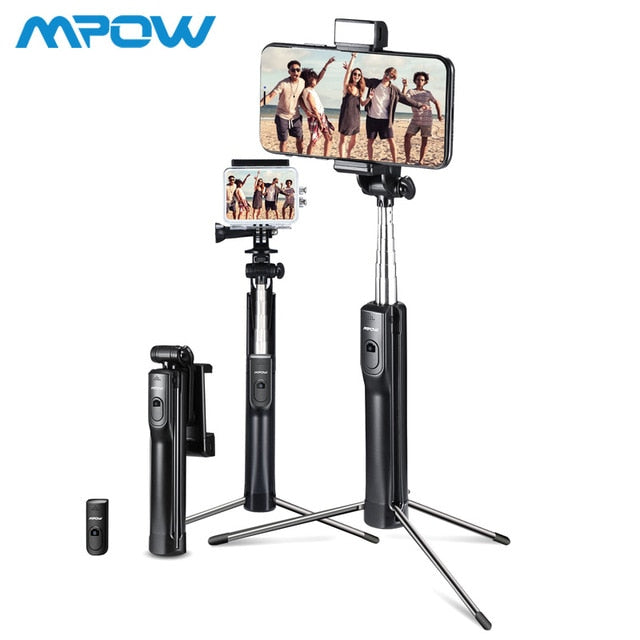 Mpow 3-in-1 Selfie Stick Tripod With Wireless Bluetooth Remote Control and Light