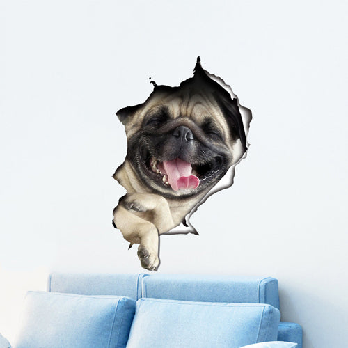 Cute 3D Dog Wall Sticker by VizualTreats.com