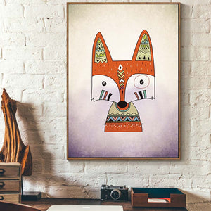 Fox Nordic Style Canvas Painting