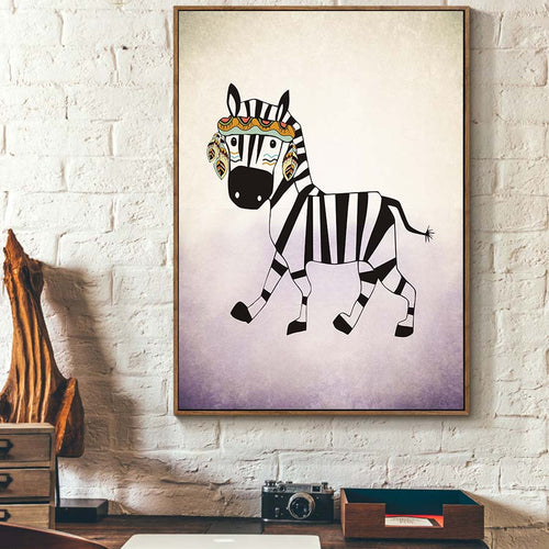 Zebra Nordic Style Canvas Painting