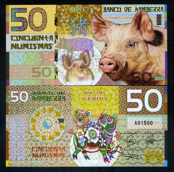 Banco De Kamberra 50 Numismas 2019 Year of the Pig Polymer UNC