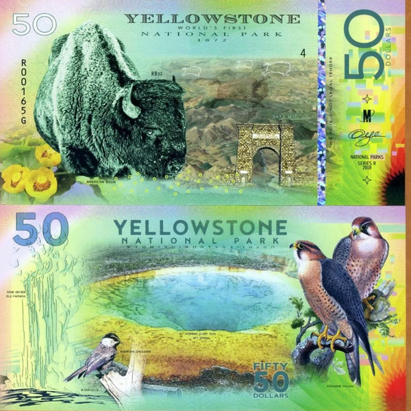 National Park Of The World - Yellowstone World's First National Park 1872-2018 Polymer UNC