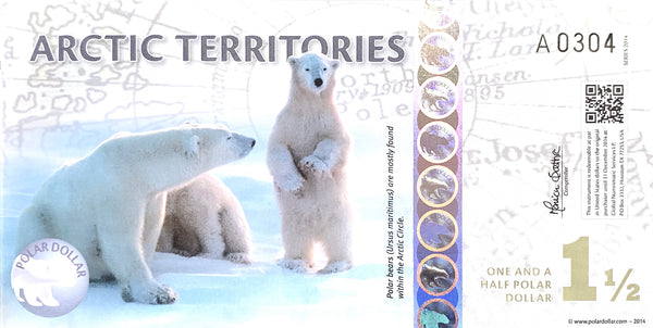 Artic Territories 1 1/2 Polar Dollars 2014 Polymer UNC